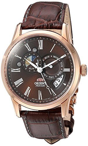- Orient Men's 'Sun and Moon' Japanese Automatic Stainless Steel and Leather Dress Watch, Color:Brown (Model: FET0T003T0)