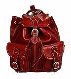 Backpack leather red backpack genuine leather travel bag weekender sports bag gym bag leather shoulder ladies mens satchel backpack