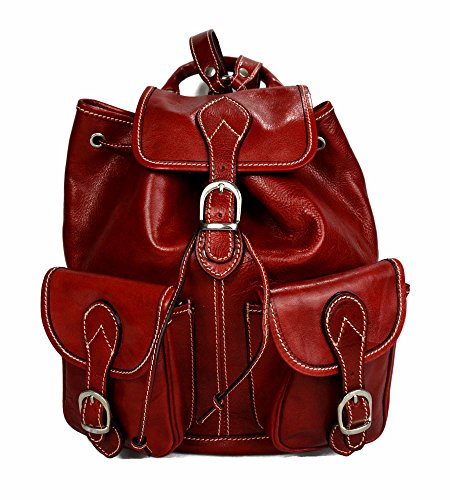 Backpack leather red backpack genuine leather travel bag weekender sports bag gym bag leather shoulder ladies mens satchel backpack by ItalianHandbags