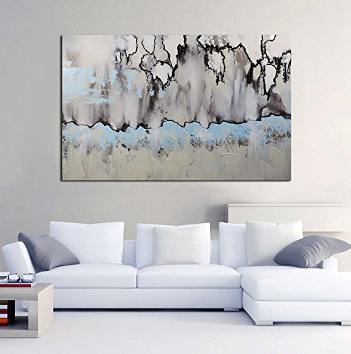 ARTLAND 24x36-inch 'Winter Sonata' Gallery-wrapped Hand-painted Canvas Abstract Wall Art by ARTLAND