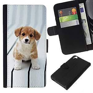 KLONGSHOP // Tirón de la caja Cartera de cuero con ranuras para tarjetas - Cachorro Cut adorables Marrón Blanco Ojos Grandes - HTC Desire 820 //