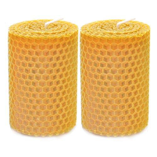 HUELE 2 Pcs Beeswax Candles Handmade Taper Candles,3x2 Inches