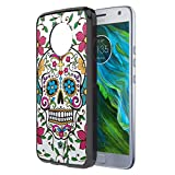 Moto X4 Case, Capsule-Case Hybrid Slim Hard Back Shield Case with Fused TPU Edge Bumper (Black) for Motorola Moto X4 (Moto X 4th Generation) - (Sugar Skull Blue)