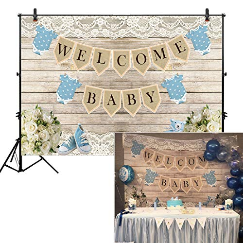 Allenjoy Rustic Welcome Baby Backdrop Background for boy Boys Birthday Picnic Party Dessert Candy Cake Table Decor Decoration Floral Baby Shower Banner Photo Shoot Booth -