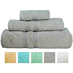 Turkish Bath Towel Set Spa Hotel Premium Loop Terry 100% Natural Cotton Comfortable Super Soft Christmas Gifts Luxury (3 Towels) (Grey)