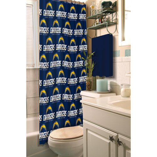 NFL San Diego Chargers Shower Curtain Football Bathroom
