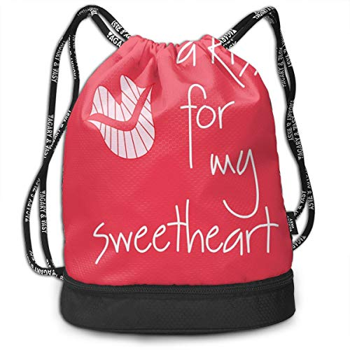 Men & Women Premium Polyester Drawstring Sack A Kiss For My Sweetheart Pink Gymsack Theft Proof Lightweight For Travel Soccer Baseball Bag Large For Camping, Yoga -