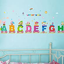 English Letters Train Rainbow Sun Wall Decal PVC Home Sticker House Vinyl Paper Decoration WallPaper Living Room Bedroom Kitchen Art Picture DIY Murals Girls Boys kids Nursery Baby Playroom Decor