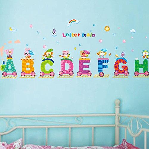 English Alphabets Train Rainbow Sun Wall Decal Pvc Home