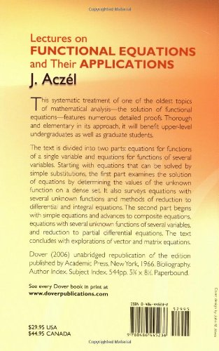 Lectures on functional equations and their applications dover lectures on functional equations and their applications dover books on mathematics j aczel mathematics 9780486445236 amazon books fandeluxe Choice Image
