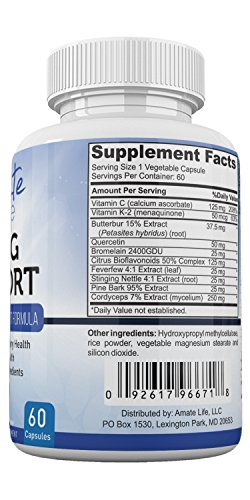 Amate Life Lung Support Dietary Supplements- Herbal Breathing Support- 10 Active Ingredients- Original Formula for Lung Health- Lung Cleanse Formula- Supplement for Bronchial System- 60 Caps- Non GMO by Amate Life (Image #3)