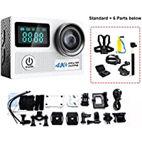 Mengshen 2 Screen 2.0 Inch Action Camera, 4K Ultra HD Waterproof Sport WiFi Cam with 20MP 170 Degree Wide Angle for Outdoor Activities (Include 6 Extra Accessories) N5AS White