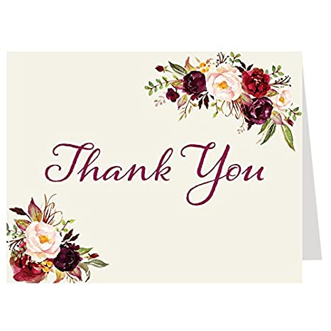 Amazon Com Thank You Greeting Cards Burgundy Blooms Bridal