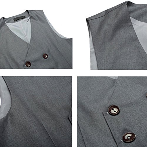 Blazer Breasted Sleeveless Zhhlaixing gris Formal suave Soft Mens Tops Vest Suit Double Moda qxTAqf