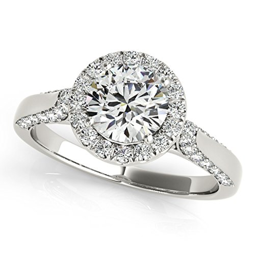 - MauliJewels 1 Ct. Halo Unique Design Engagement Diamond Ring Crafted In 14k Solid White Gold