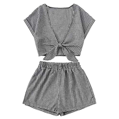 Womens Sexy 2 Piece Outfits Short Sleeve V Neck Strappy Crop Tops Plaid Print Elastic Waist Loose Shorts Soft Breathable Summer Casual Beach Suits