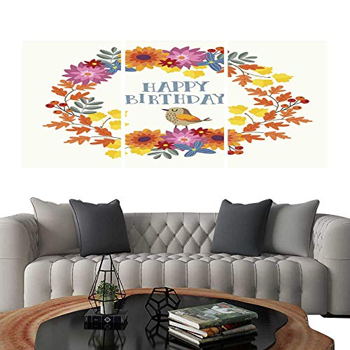 - Pictures Paintings on Canvas WallCute hand drawn autumn birthday greeting card invitation with bird and wreath made of mums flowers and colorful maple and oak leaves Fall season concept Isolated vec