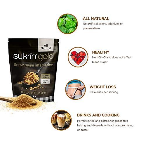 Sukrin Gold - The Natural Brown Sugar Alternative - 1.1 lb Bag by Sukrin (Image #2)