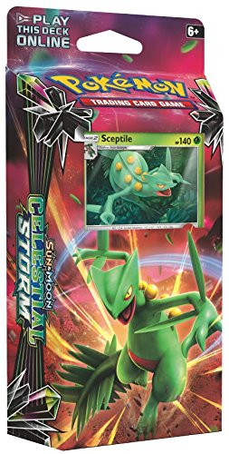 Pokemon TCG: Sun & Moon Celestial Storm | Leaf Charge Theme Deck | Grass & Lightning Power | 60 Card Deck featuring Sceptile | Collectible Trading Card Set