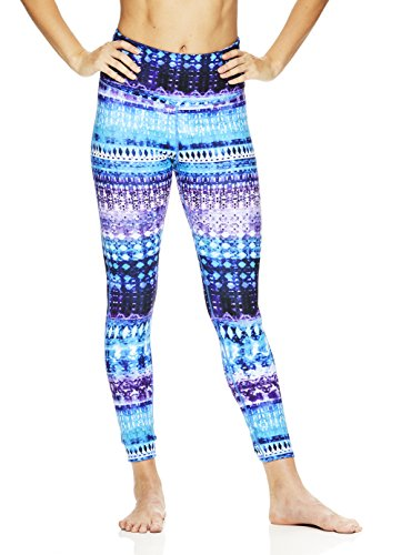 Gaiam Women's High Waisted Yoga Leggings - Performance High Rise Workout Pants - Medieval Blue, X-Large