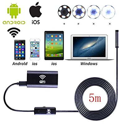 Wifi Wireless Waterproof Endoscope,8mm Borescope Inspection Camera With 6LED 2.0 Megapixels HD 720P IP67 Tube Waterproof Inspection Camera for Android IOS Windows System