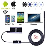 Wifi Wireless Waterproof Endoscope,8mm Borescope Inspection Camera With 6LED 2.0 Megapixels HD 720P IP67 Tube Waterproof Inspection Camera for Android IOS Windows System(5m)