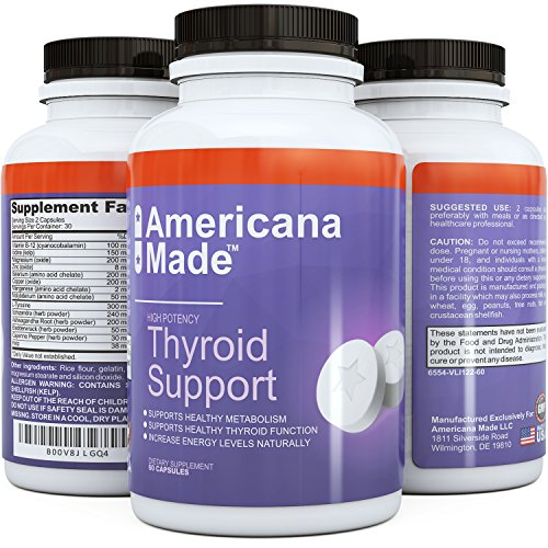 Thyroid Support Supplement ★ Pure High Strength Blend for Effective Weight Loss and Energy Boost ★ #1 Best Thyroid Support Complex Improves Metabolism Levels ★ Natural and Fast Acting Formula
