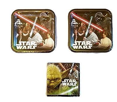 "Classic Star Wars 9"" Party Bundle Plates (16) Napkins (16)"
