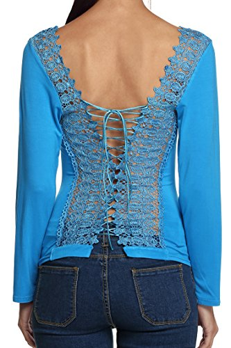 Embroidered Lace Up Corset - Finejo Women Sexy Long Sleeve Corset Embroidered Lace Up Back Shirt Top Blouse