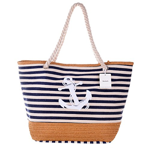 Sumerk Oversize Striped Canvas Beach Bag Cotton Totes with Rope Handle