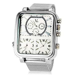 ZA Men's Three Time Zones Three-movement Square Dial Alloy Band Quartz Analog Wrist Watch(Delivery color random)