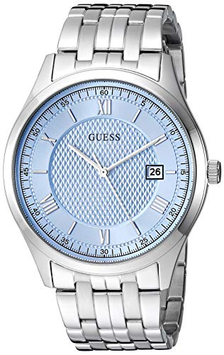 GUESS  Classic Stainless Steel Bracelet Watch with Sky Blue Dial + Date. Color: Silver-Tone (Model: U1218G3)