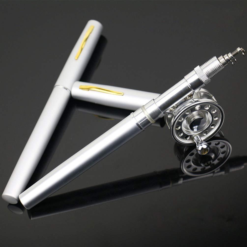 Heheja 1M Mini Tragbar Pocket Aluminiumlegierung Angelrute Stift Form Fisch Reel Drum Polrad Line weiche K/öder Jig Haken Float Tackle Fischen