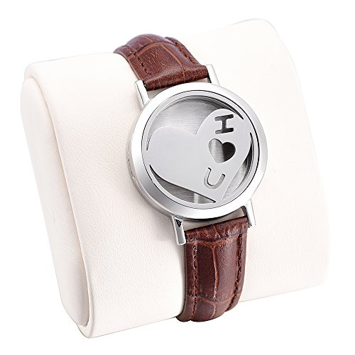 Engravable Love Heart Stainless Steel Bracelet Diffuser Leather Bracelet with 12 Different Color Pads (Brown)