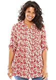 Woman Within Women's Plus Size Tunic Top With Button-Tab Convertible Sleeves Ruby Rose