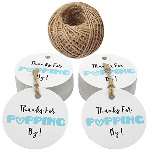 Original Design Baby Shower Tags,Thanks for Popping by Gift Tags,5cm Round Blue Tags,100PCS Paper Tags for Wedding Party Favors with 100 Feet Jute Twine ()