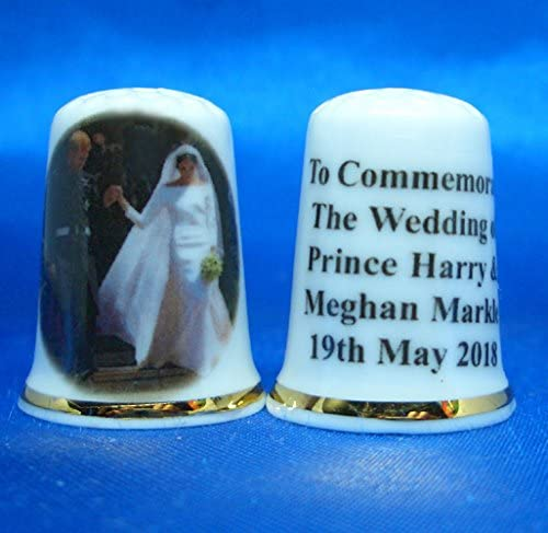 Prince Harry /& Meghan Markle Royal Wedding Bride /& Groom Porcelain China Collectable Thimble Free Gift Box