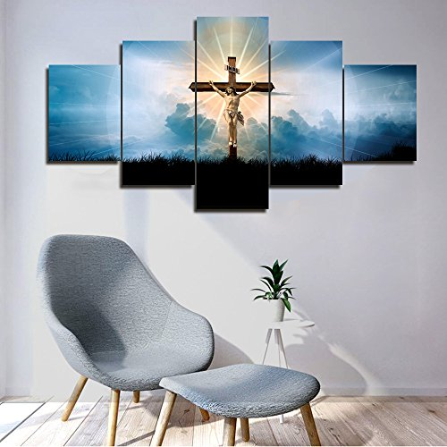 Framed Wall Art Living Room Decor 5 Piece Canvas Jesus Crucified in Navy Blue Sky Pictures Paintings Modern Artwork Contemporary Home Decor Posters and Prints Gallery-wapped Ready to Hang(60''Wx32''H)