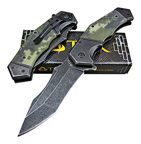 - TEK Spring Assisted Opening Heavy Duty Folding Pocket Knife - 8Cr13MoV Razor Sharp Modified Drop Point Blade - Tough Sure Grip G10 Handles - Lightning Fast Deployment