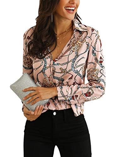 (MEROKEETY Women's Long Sleeve V Neck Floral Chain Print Shirt Casual Button Down Blouse Tops)