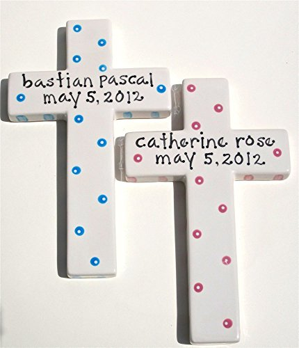 hand painted, personalized, ceramic wall cross for christening, baptism, first communion - Girl Personalized Hand Painted Plate