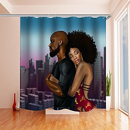 Black Is Beautiful, Black Art Love Family Afrocentric Shower Curtains For Bathroom Decor - Polyester Fabric Waterproof Shower Curtain Mildew Resistant (72 x 72 inch, includes 12 hooks) (Black Love)