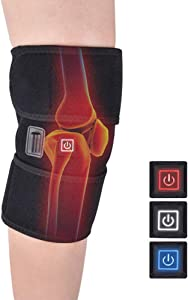 Heated Knee Brace Wrap Support, Heating Knee Pad, Hot Therapy Compress to Warm Joint Relief Pain of Knee Stiff, Arthritis Meniscus, Strains, Fits Knee Calf Leg