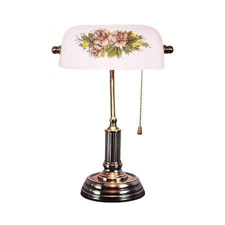 Lámpara de mesa, lámpara de banquero retro, pantalla de ...