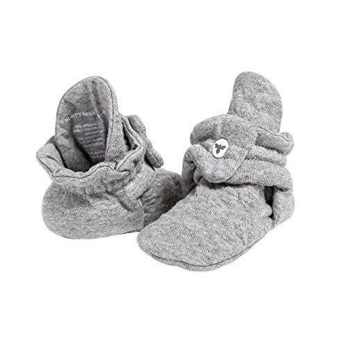 Burt's Bees Baby Unisex Baby, Boys Girls Quilted Booties, 100% Organic Cotton, Heather Grey 6-9 Months