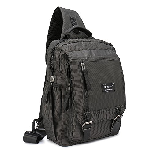 Price comparison product image Sling Bag Cross Body Messenger Bag One Strap Backpack Travel Shoulder Bag For Laptop Tablet Ipad Outdoor Hiking (Black (Fits13.3-Inch Laptop))