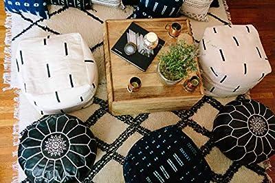 Black and White Mudcloth Square Pouf or Ottoman
