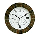 About Time Slate Effect Garden Outdoor Wall Clock with Thermometer and Hygrometer (ITEM NO.GG0018) - 35.5cm (14')