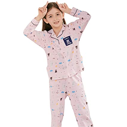 99e0e9c020 Image Unavailable. Image not available for. Color  Pajama Girls Cotton  Spring and Autumn Long Sleeves Cute Set Comfortable Children s Home ...
