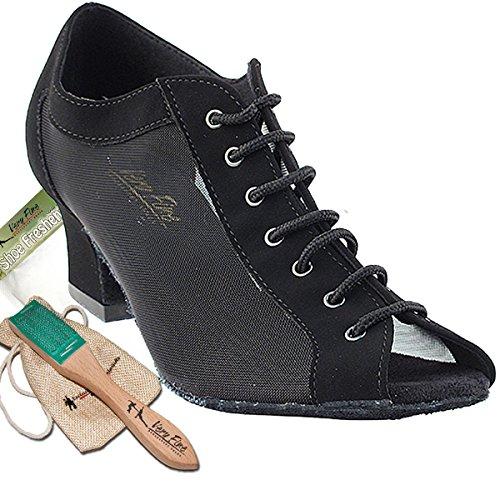 Womens Ballroom Dance Shoes Party Salsa Practice Dance Shoes Black Nubuck & Black Mesh 1643EB Comfortable - Very Fine 2